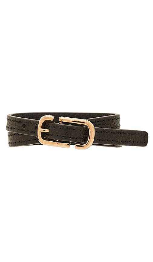 Marc Jacobs Icon Buckle Double Wrap Bracelet in Black