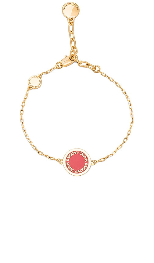 Marc Jacobs Enamel Logo Disc Bracelet in Metallic Gold