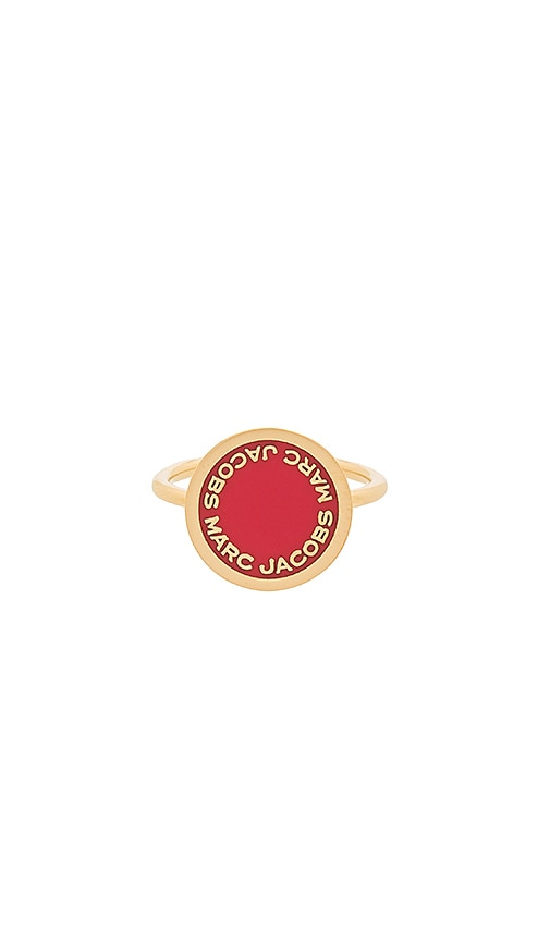Marc Jacobs Enamel Logo Disc Ring in Metallic Gold