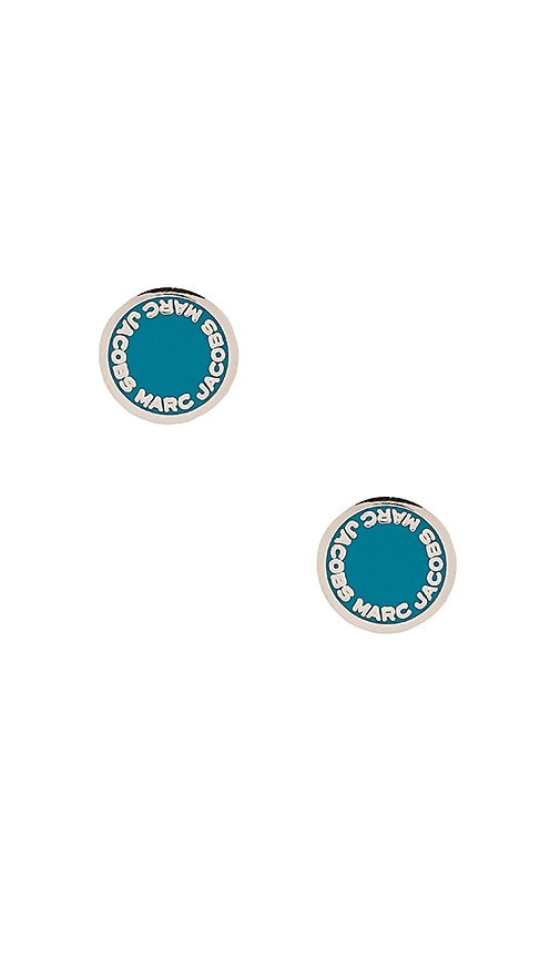 Marc Jacobs Enamel Logo Disc Studs in Metallic Silver