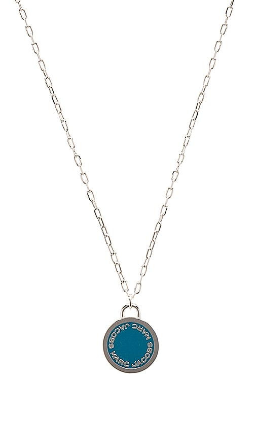 Marc Jacobs Enamel Logo Disc Pendant in Metallic Silver
