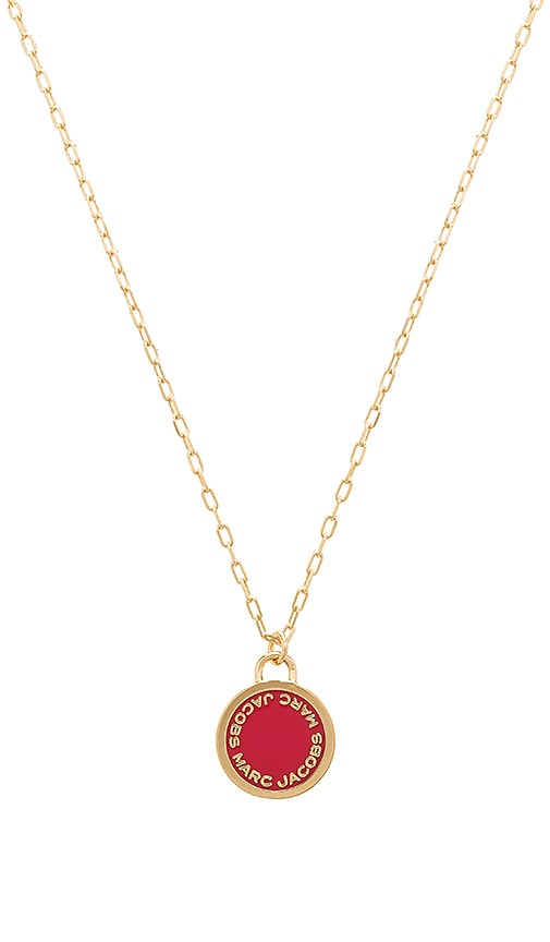 Marc Jacobs Enamel Logo Disc Pendant in Metallic Gold