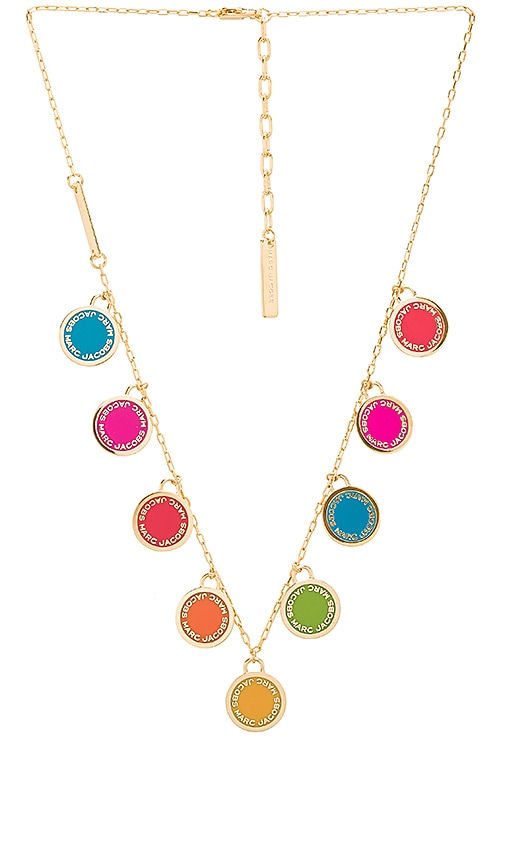 Marc Jacobs Logo Disc Statement Necklace in Metallic Gold