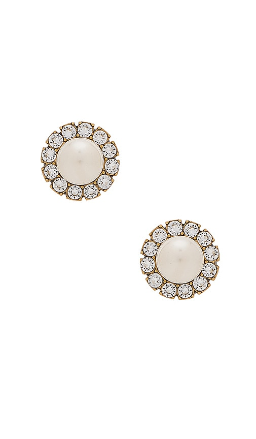 Marc Jacobs Small Strass Pearl Studs in Metallic Gold