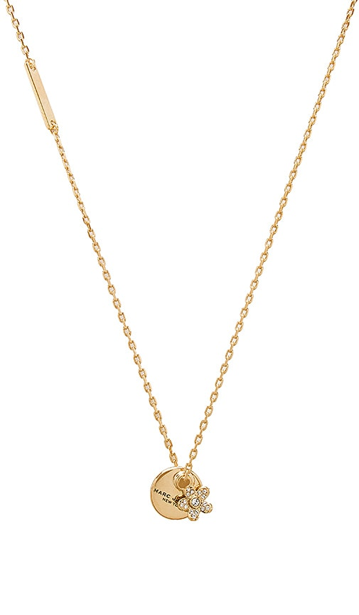 Marc Jacobs MJ Coin Crystal Pendant Necklace in Metallic Gold