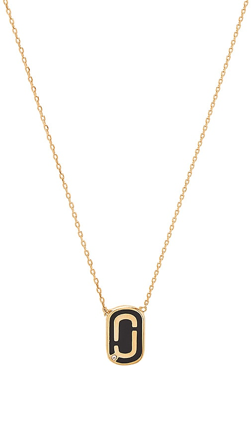Marc Jacobs Icon Enamel Pendant Necklace in Metallic Gold
