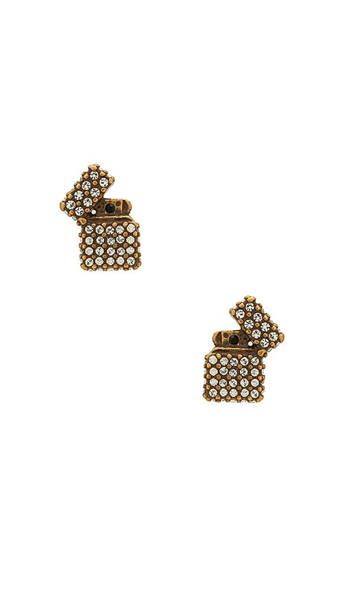 Marc Jacobs Strass Lighter Studs in Metallic Gold