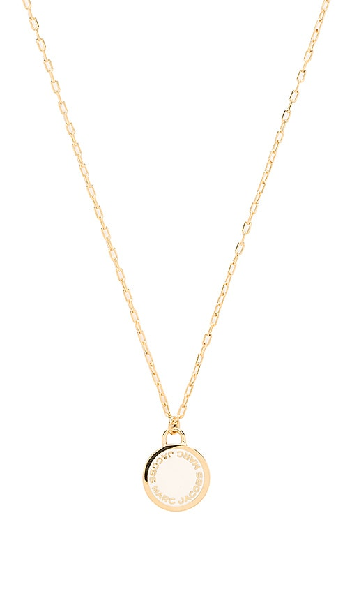 Marc Jacobs Enamel Logo Disc Pendant Necklace in Metallic Gold