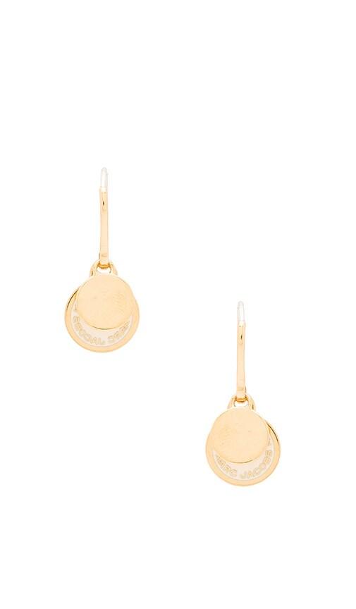 Marc Jacobs Enamel Logo Disc Earrings in Cream