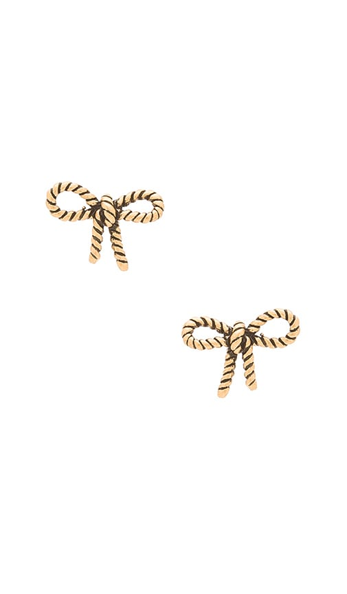 Marc Jacobs Rope Bow Stud Earrings in Antique Gold