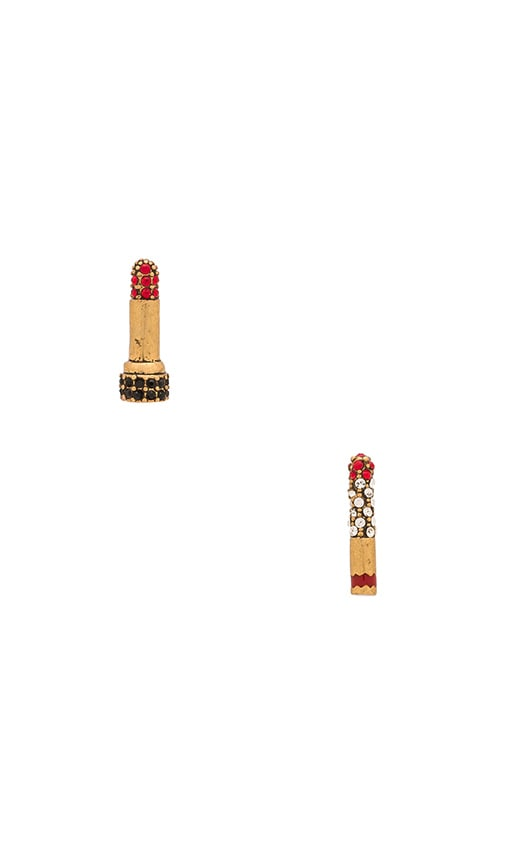 Marc Jacobs Charms Lipstick Cigarette Stud Earrings in Red & Antique Gold