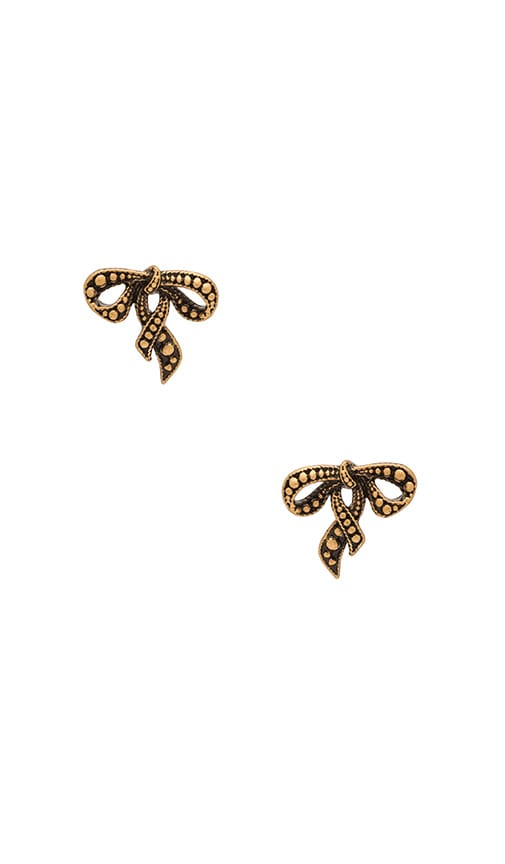 Marc Jacobs Charms Small New Bow Stud Earrings in Antique Gold