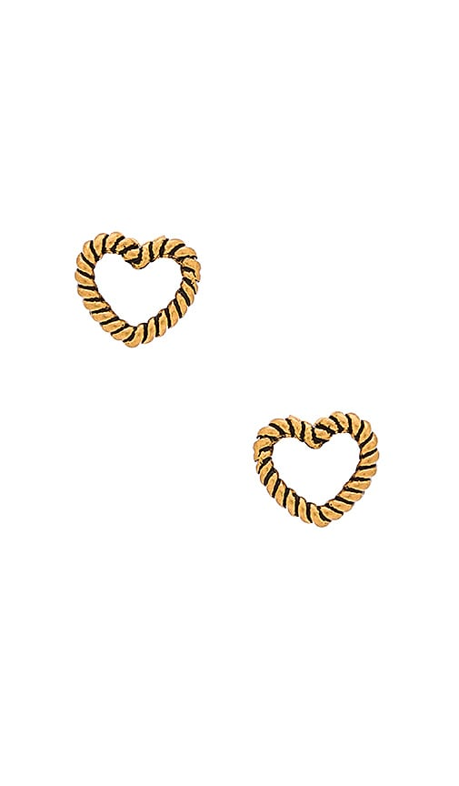 Marc Jacobs Charms Rope Heart Stud Earrings in Antique Gold