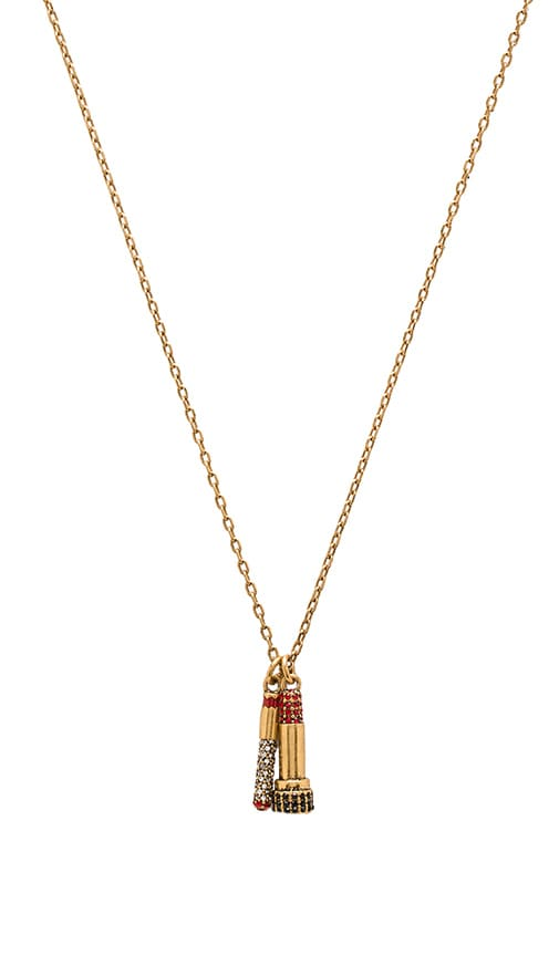 Marc Jacobs Charms Lipstick Necklace in Metallic Gold