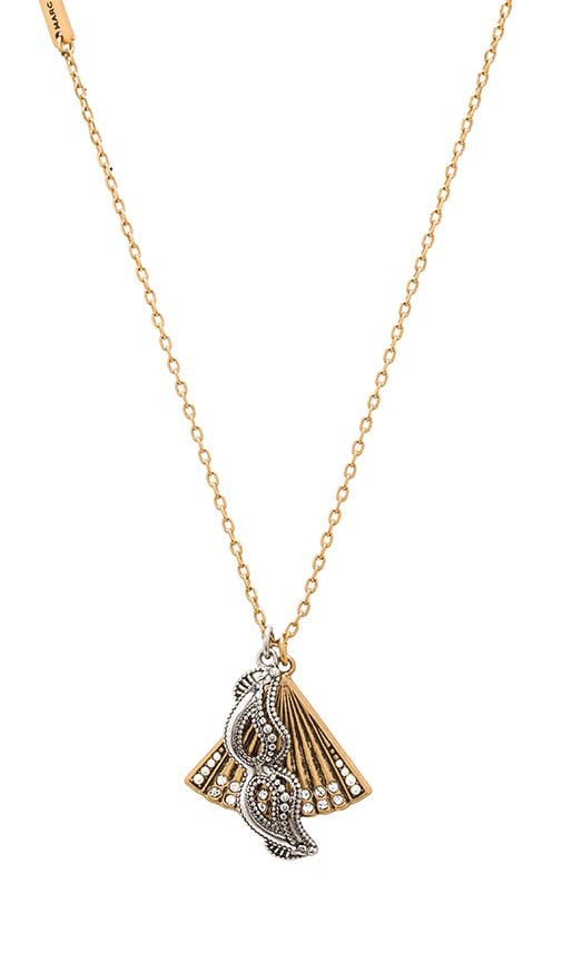Marc Jacobs Charms Fan Mask Necklace in Metallic Gold
