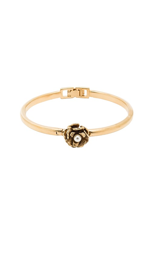 Marc Jacobs Flower Hinge Cuff in Metallic Gold