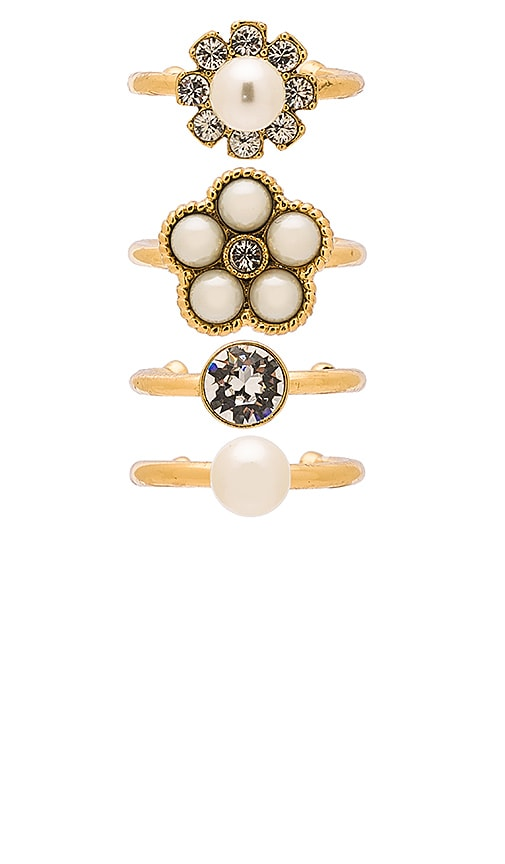 Marc Jacobs Cabochon Midi Ring Set in Cream & Antique Gold
