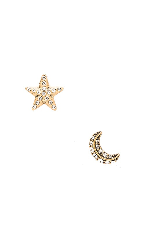 Marc Jacobs Charms Moon and Star Stud Earrings in Crystal & Antique Gold