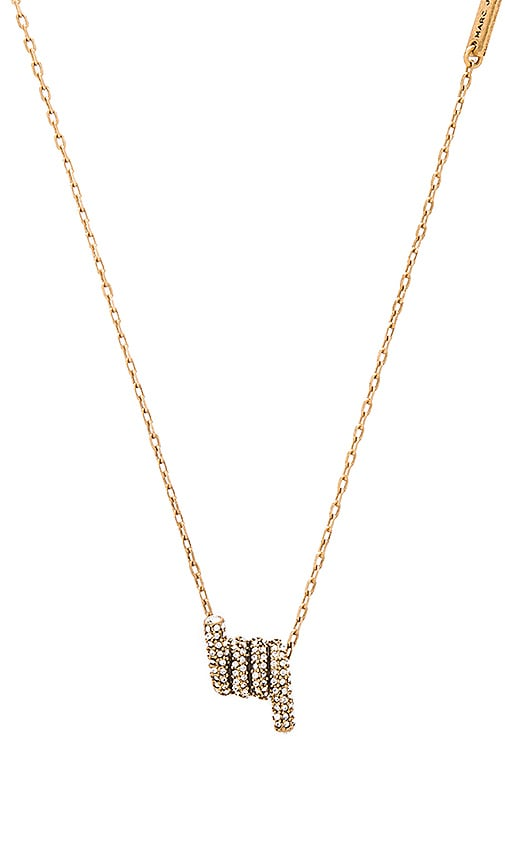 Marc Jacobs Pave Twisted Pendant Necklace in Metallic Gold