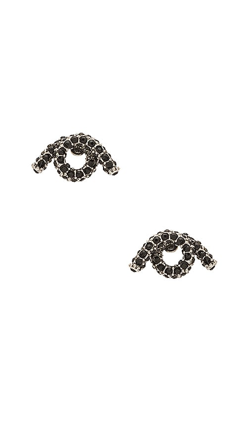 Marc Jacobs Pave Twisted Single Wrap Stud Earrings in Metallic Silver