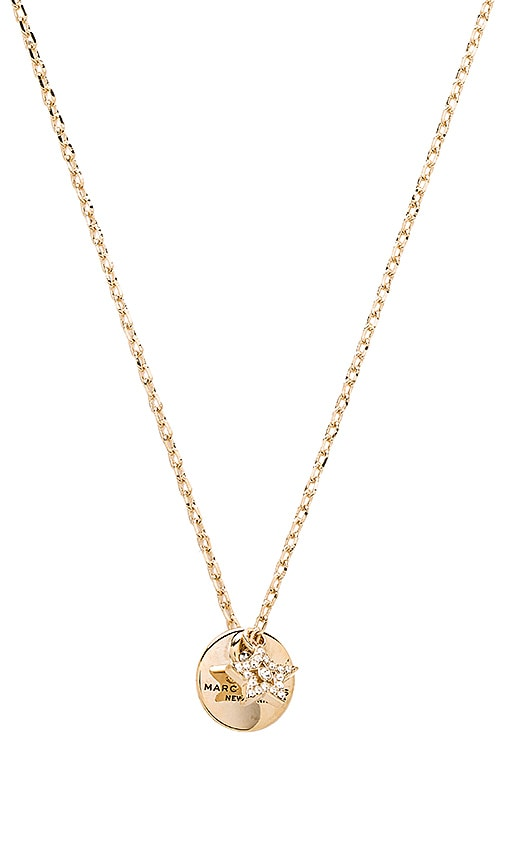 Marc Jacobs MJ Coin Pendant Necklace in Metallic Gold