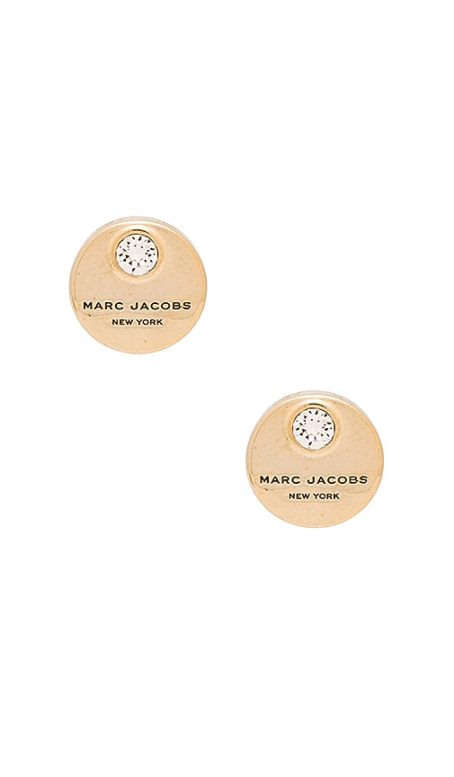 Marc Jacobs MJ Coin Stud Earrings in Metallic Gold