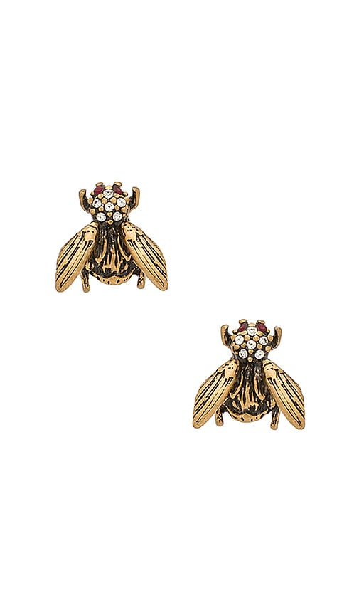 Marc Jacobs Charms Beetle Stud Earrings in Metallic Gold