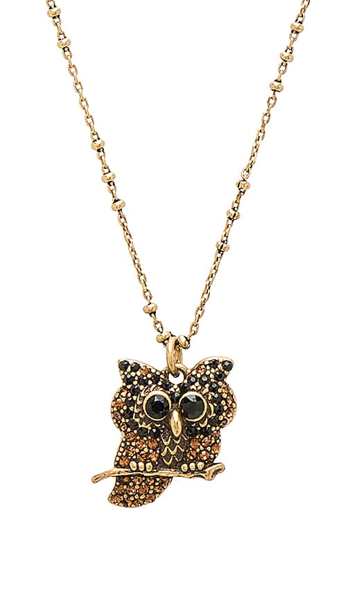 Marc Jacobs Charms Owl Pendant Necklace in Metallic Gold