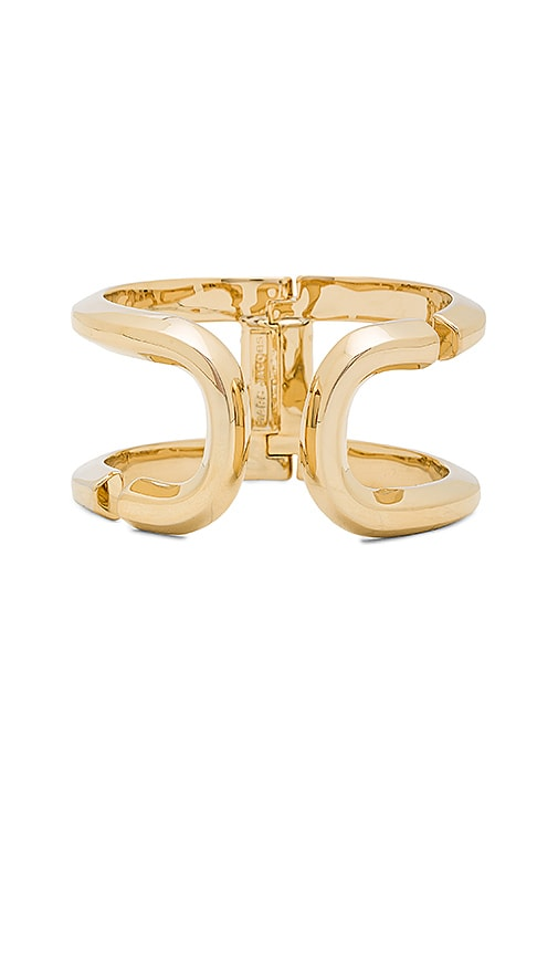 Marc Jacobs Icon Open Hinge Cuff in Metallic Gold
