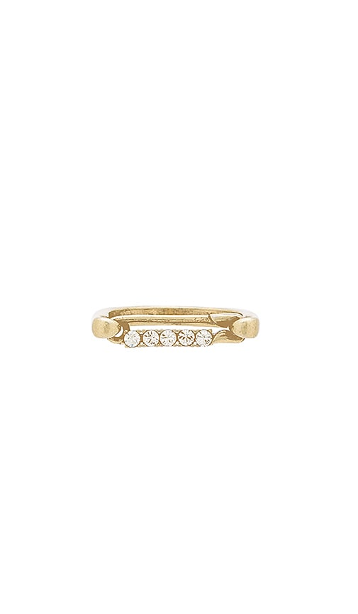 Marc Jacobs Strass Safety Pin Ring in Metallic Gold
