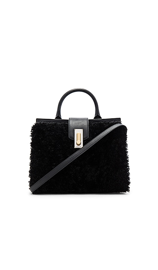 Marc Jacobs West End Lamb Shearling Small Top Handle Bag in Black
