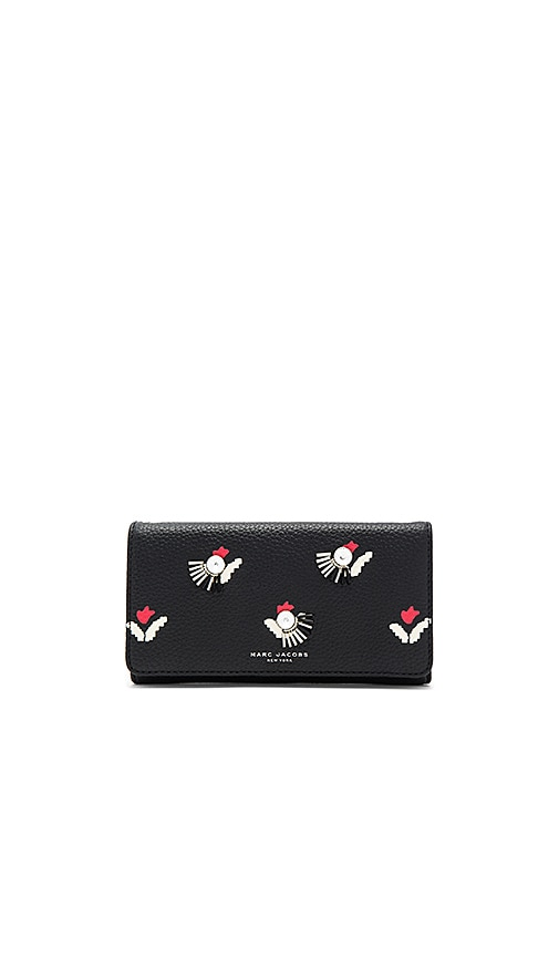 Embellished Tulip Flap Continental Wallet