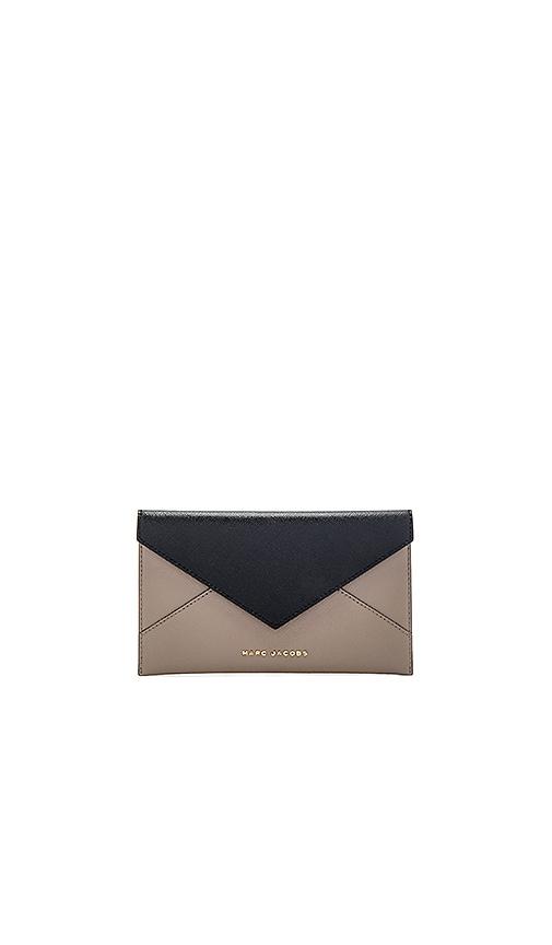 Marc Jacobs Saffiano Bicolor Envelope Wallet in Black