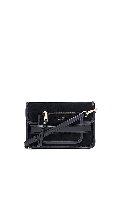 Marc Jacobs Madison Suede Medium Shoulder Bag in Black
