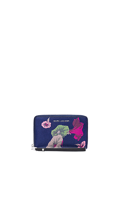 Marc Jacobs Saffiano Morning Glories Zip Phone Wristlet in Navy