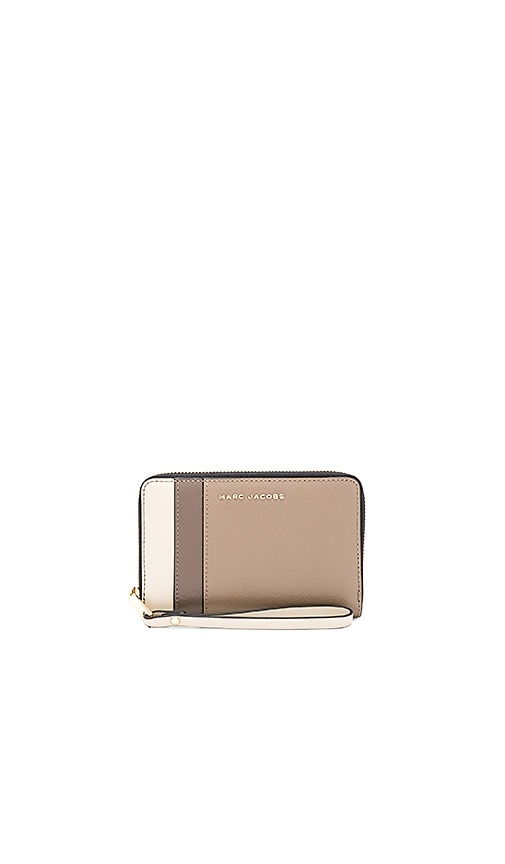 Marc Jacobs Saffiano Colorblock Zip Phone Wristlet in Taupe