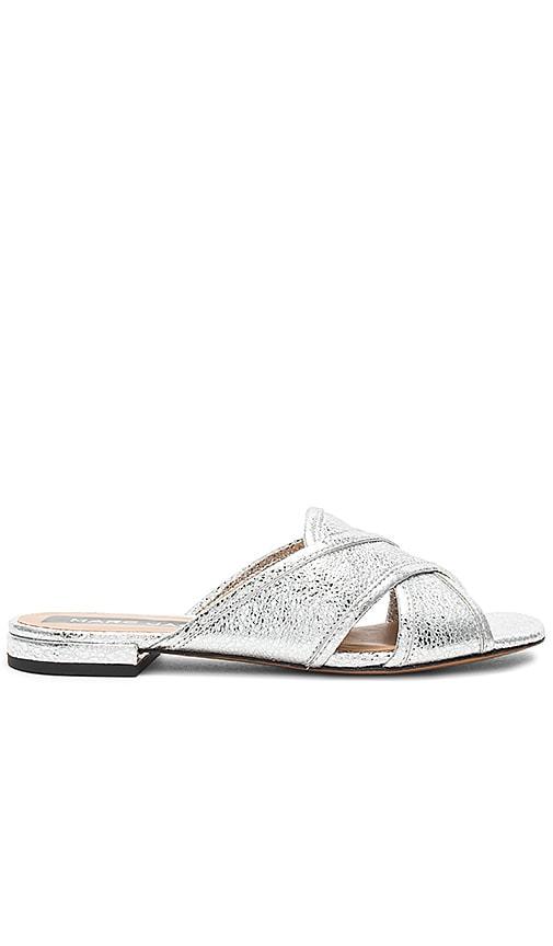 Marc Jacobs Aurora Flat Sandal in Metallic Silver