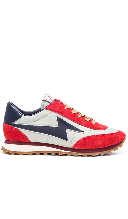Marc Jacobs Astor Lightening Bolt Sneaker in Pale Blue & Red