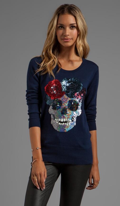 Flower Skull Sequin Sweater