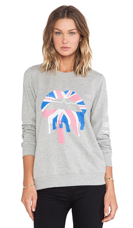 Union Jack Drip Lip Sequin Sweatshirt