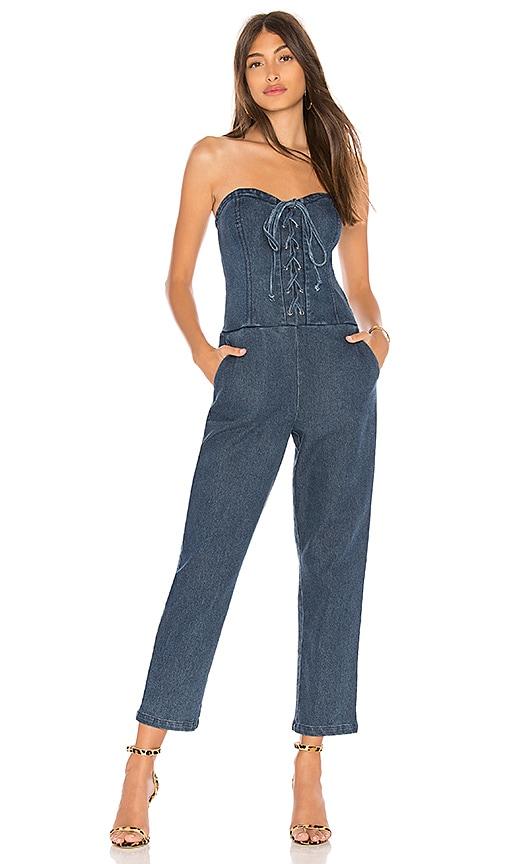 e2269eb3cb8 Marled x Olivia Culpo Corset Jumpsuit in Medium Wash