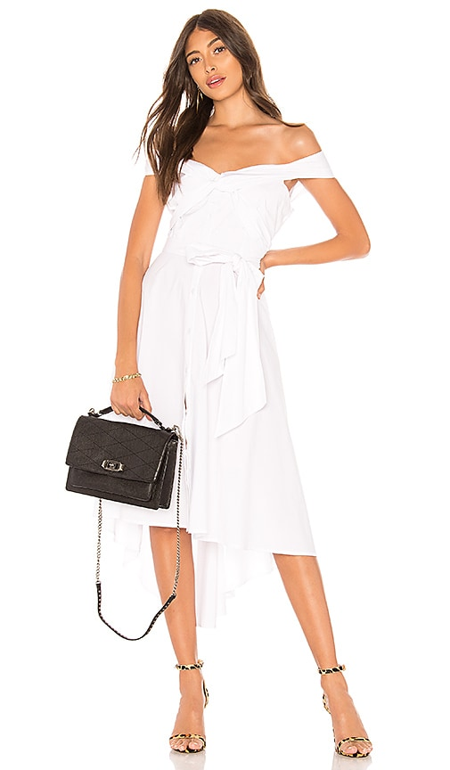 Off Shoulder Tie Front Shirt Dress