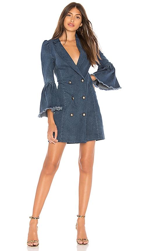 Marled x Olivia Culpo Ruffle Cuff Blazer Dress in Medium Wash