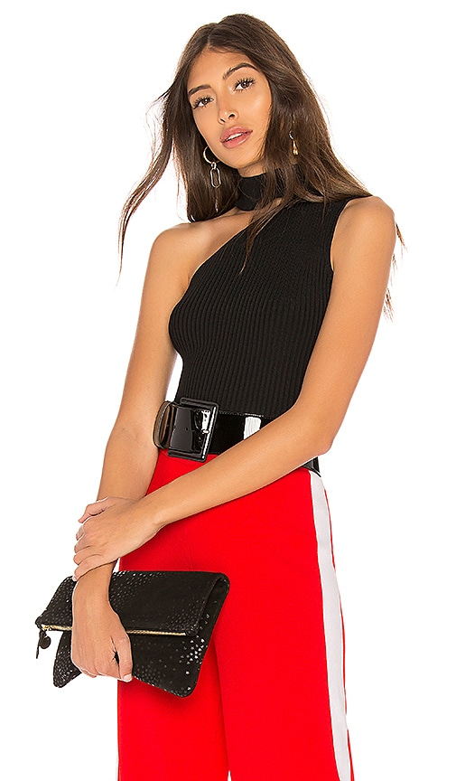 Marled x Olivia Culpo Ribbed Mockneck Top in Black