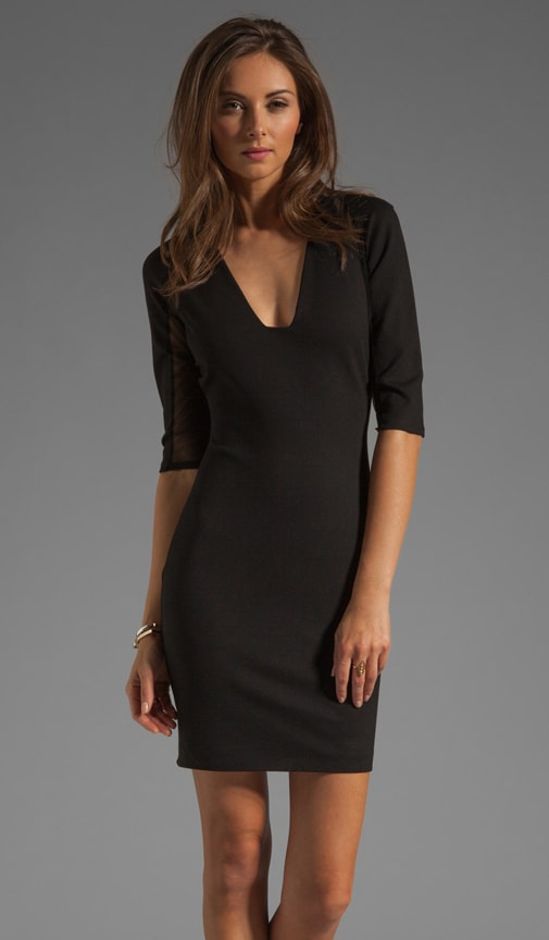 Mesh Inset Plunge Neck Dress