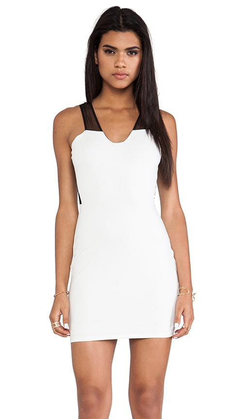 Mesh Inset Sleeveless Plunge Neck Dress