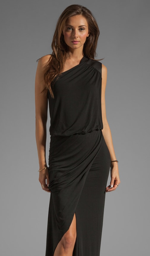 Leather Trim Asymmetric Gown