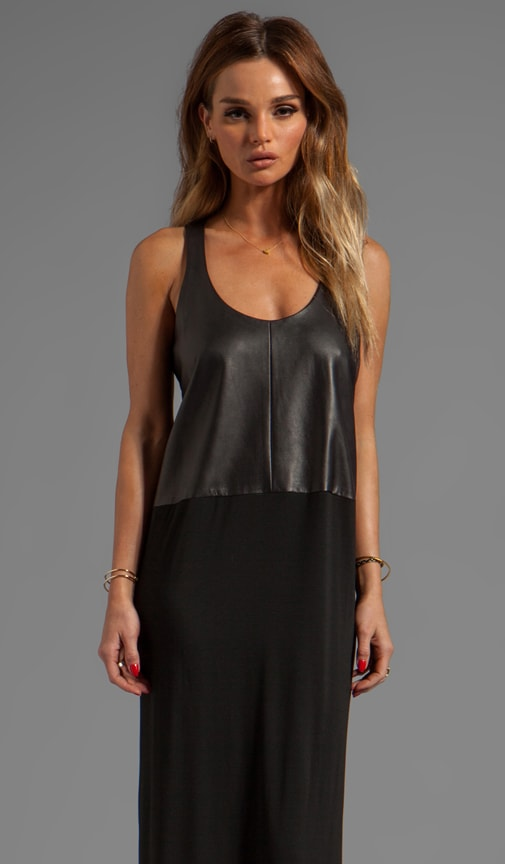 Leather Front Maxi Dress