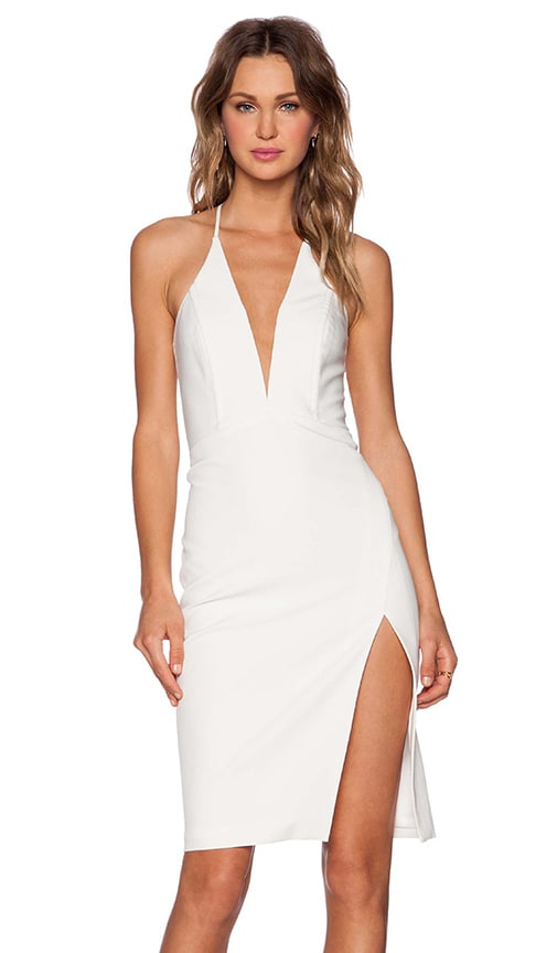 Mason by Michelle Mason Deep V Dress in Ivory