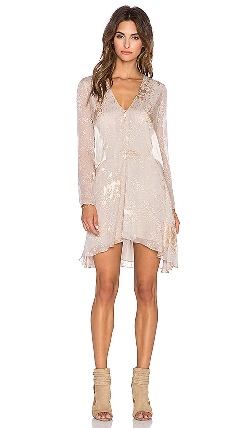 Michelle Mason Long Sleeve Mini Dress in Oyster